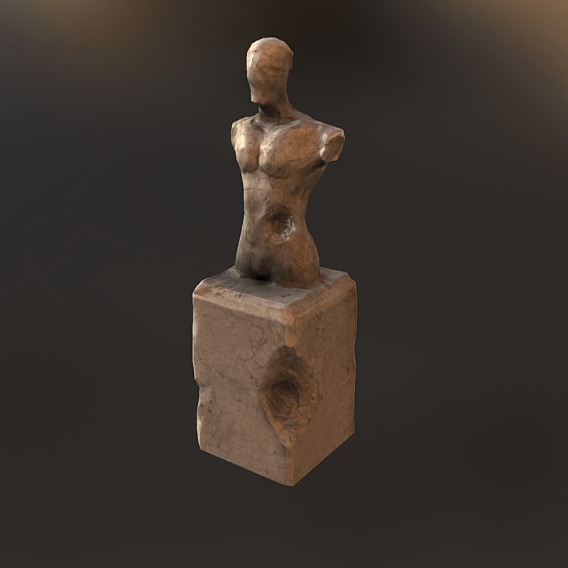 low-poly old statue obj