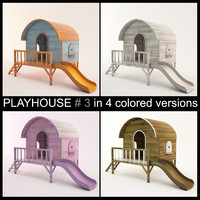High quality Wooden Children Playhouse with Slide ready to use for playgrounds