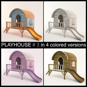 3d wooden playhouse slide using