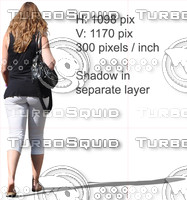 Cut out photo of back-viewed walking woman figure