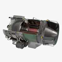 Turbojet Engine General Electric J85 Sectioned 3D Model