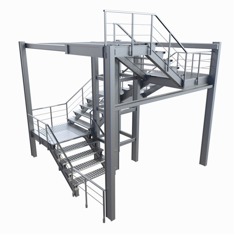 3ds metallic staircase industrial stacked