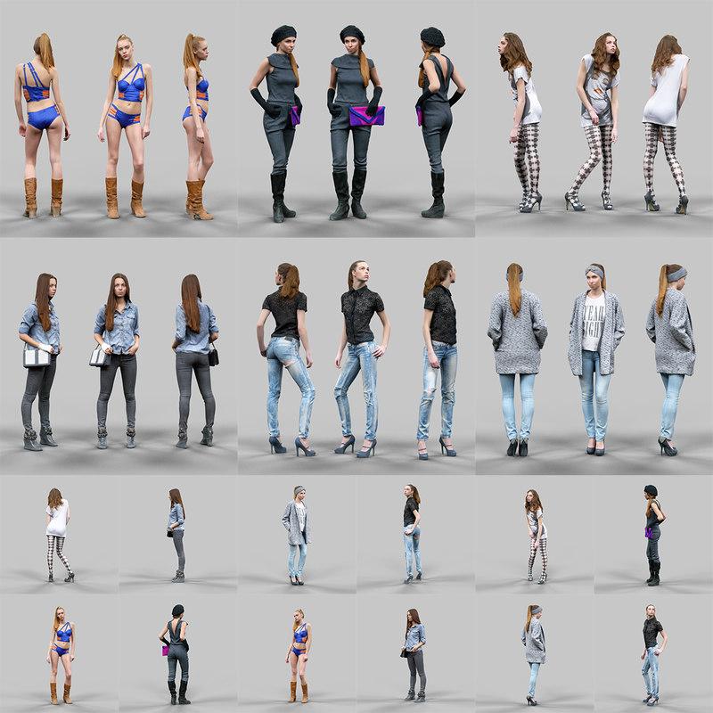 scanned female character 6 3d model