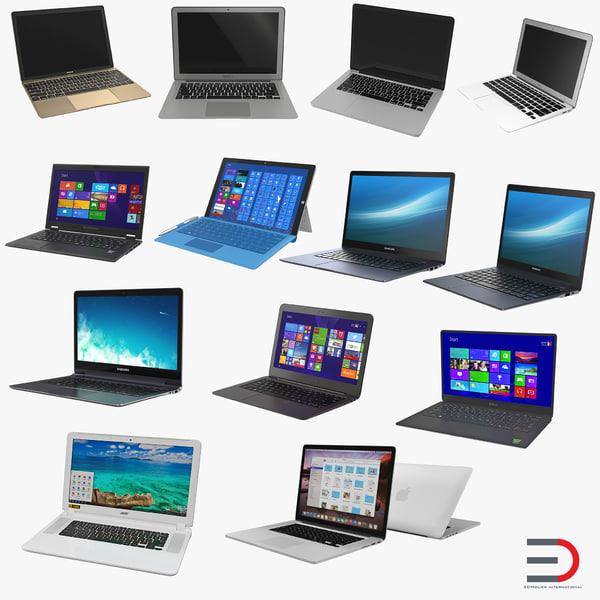 laptops set macbook 3d model