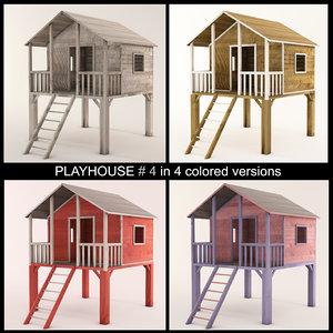 wooden playhouse stilts using 3d model