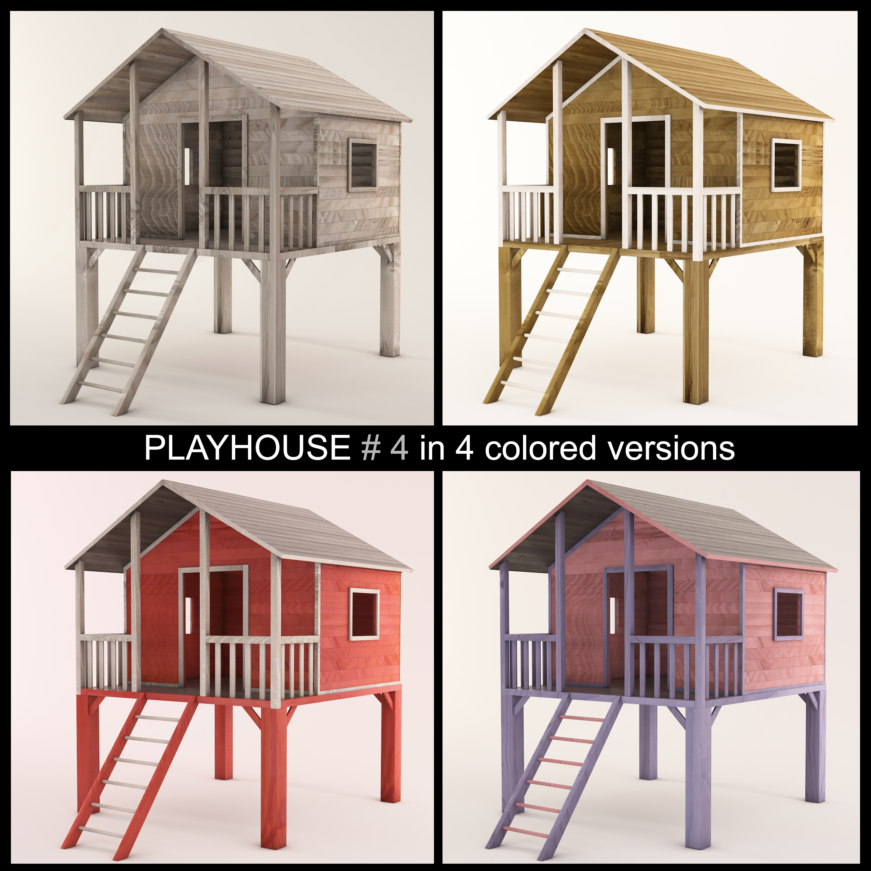 High Quality Wooden Children Playhouse On Stilts Ready To Use For Playground