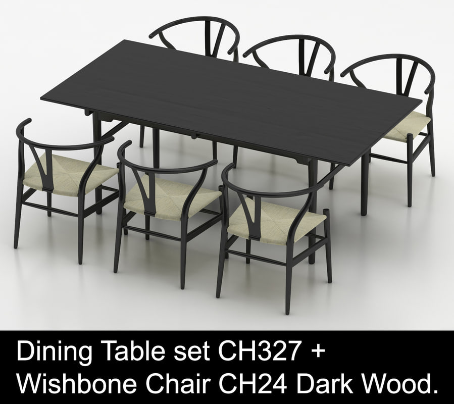 hardwood dining table wishbone chair 3d model
