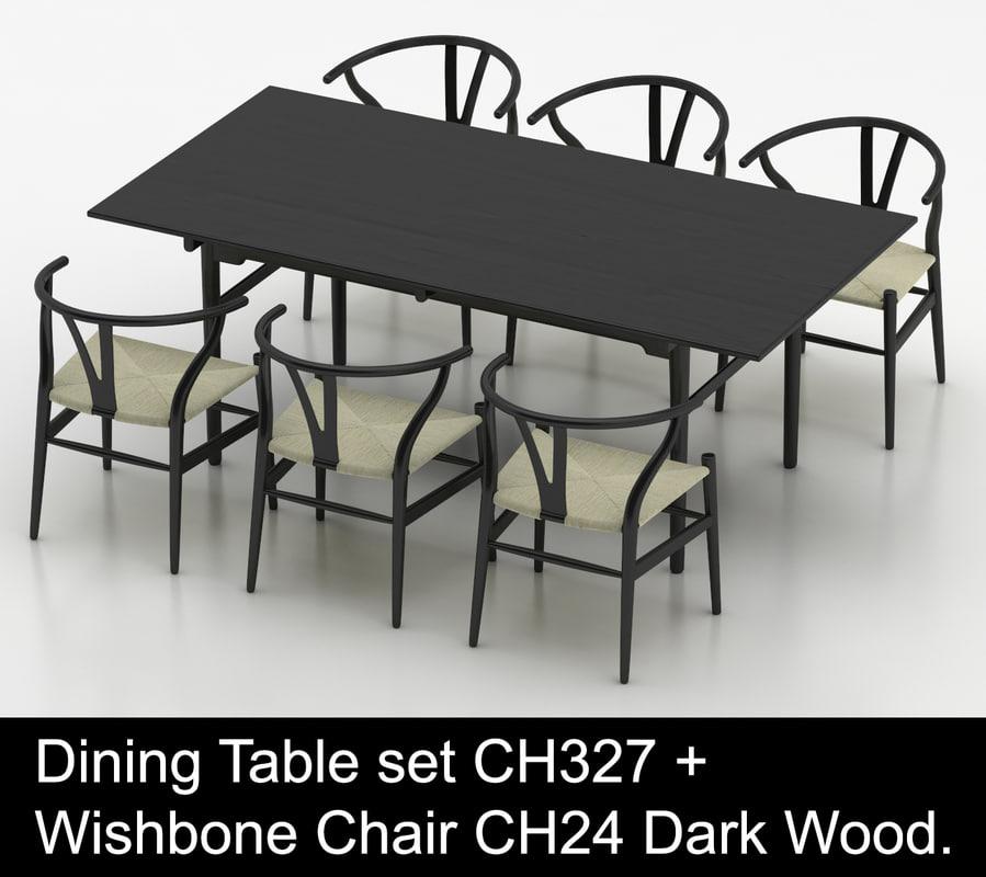 Hardwood Dining Table Wishbone Chair 3d, Black Wishbone Chairs Dining Room Set