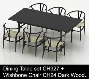 hardwood dining table wishbone chair 3d model