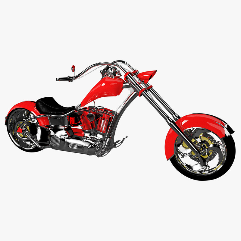 custom chopper motorcycle 3d obj