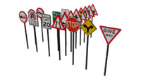 3d model traffic signboards signs boards