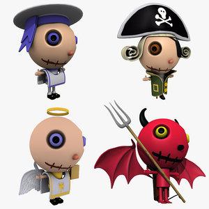 3d cartoon characters pack model