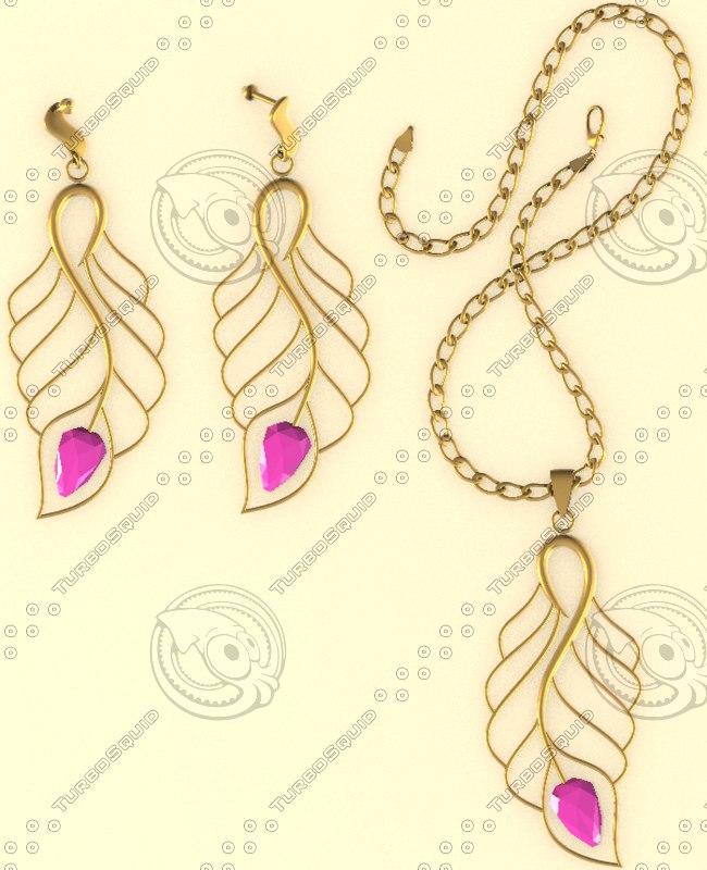 3d model necklace earrings