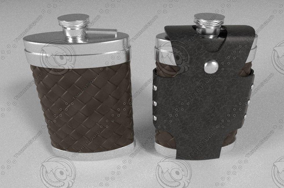 flask leather case 3d model