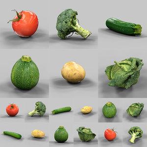 6 vegetables 3d model