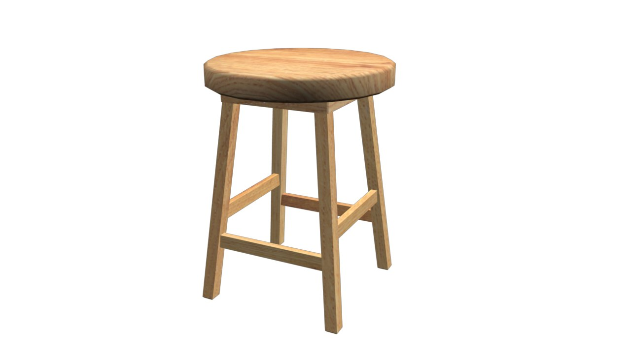 wooden stool 3d obj