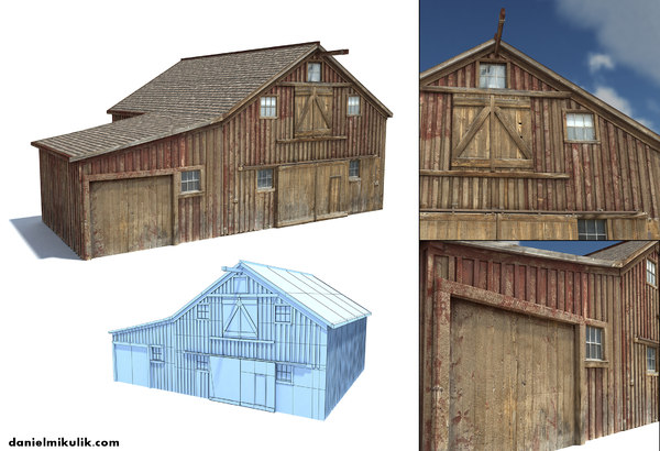old wild west barn 3d obj