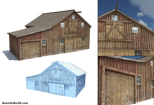 old wild west barn 3d obj