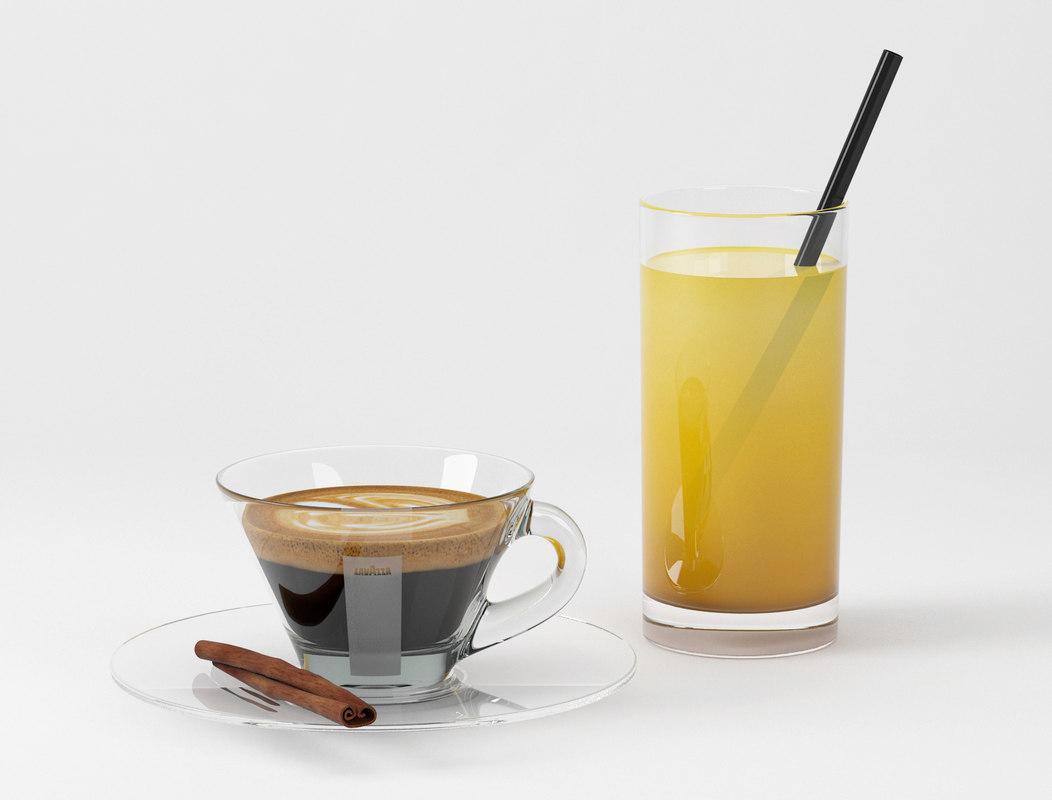max realistic lavazza coffee orange juice