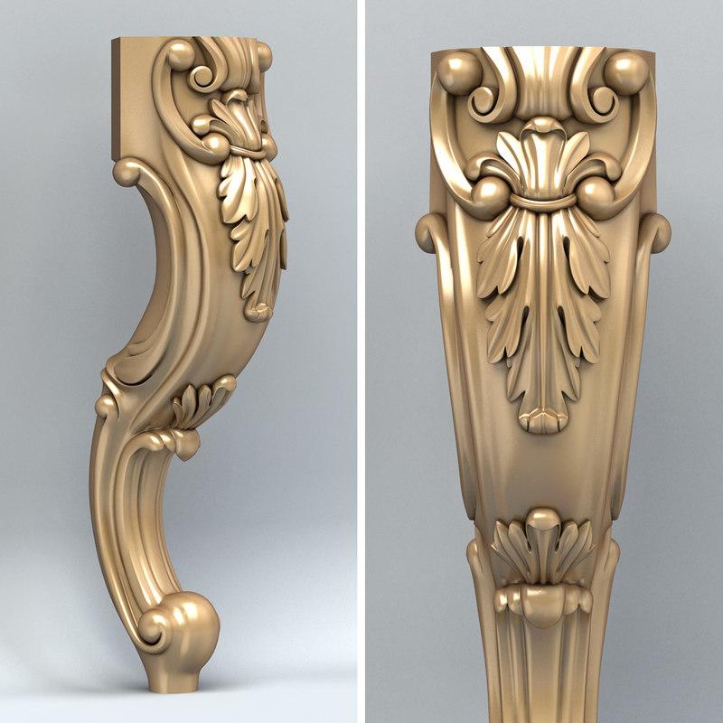 carved furniture leg 3d model