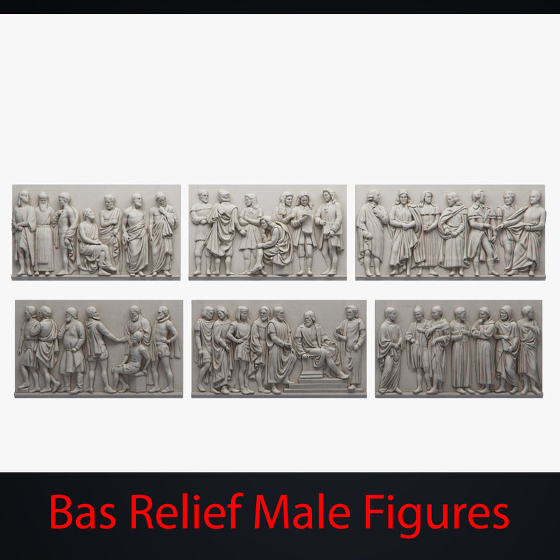 3d bas relief male figures