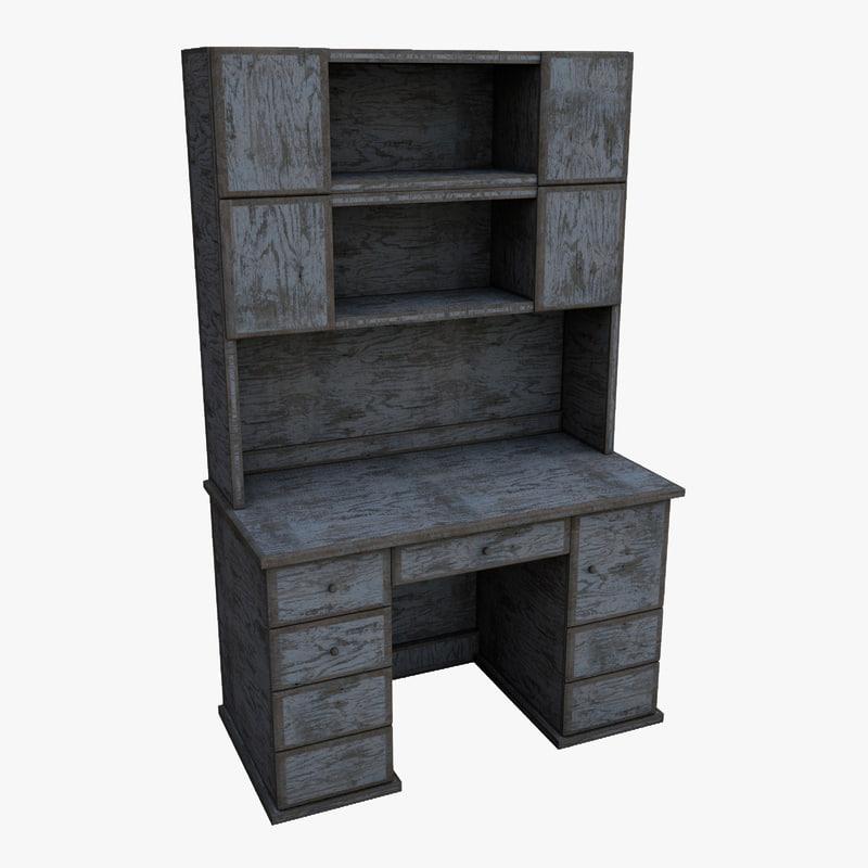 writen desk old wood 3d model