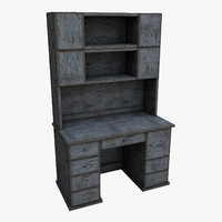 writen desk old wood 3d model