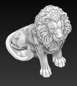 lion statue 3d obj