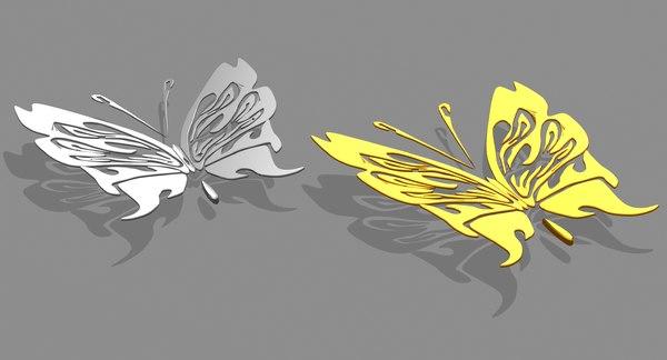 obj gold silver butterfly metal