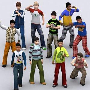 3d model realpeople kids boys -