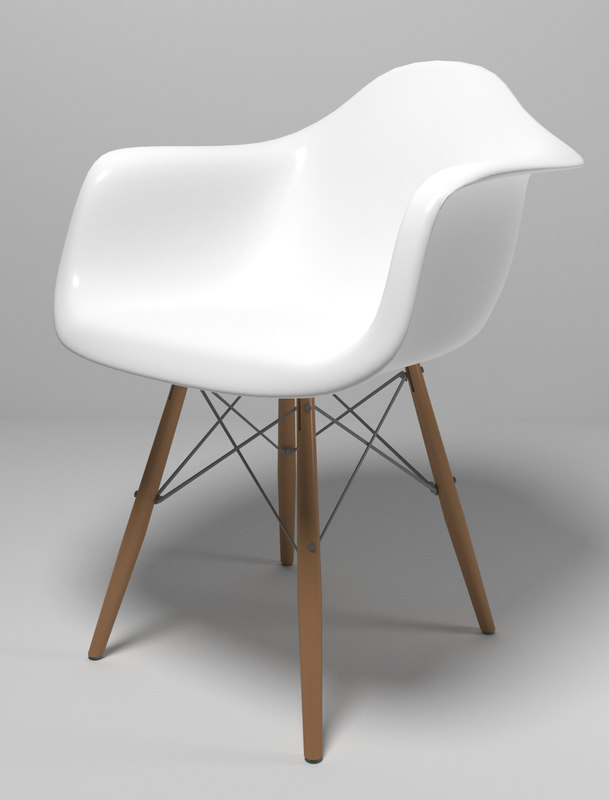3d model eames style molded plastic chair
