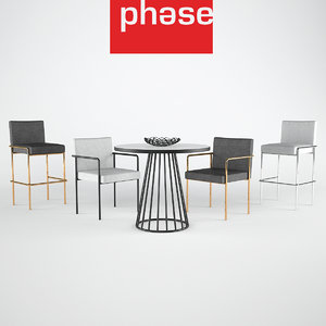 3d chair bar stool cafe table