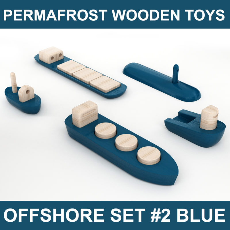 wooden toy offshore set 3d model