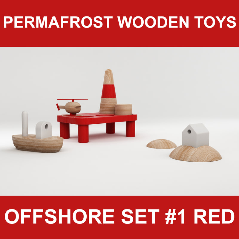 wooden toy offshore set 3d fbx