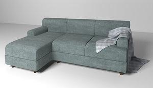 3d velvet fabric sofa model