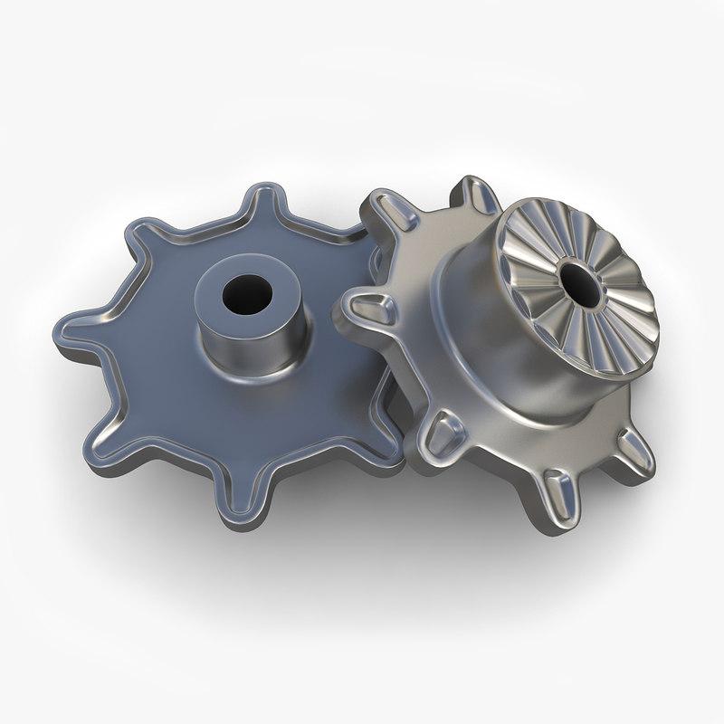 steampunk gear 45 3d model