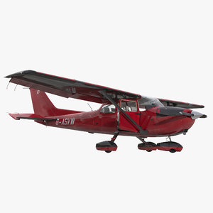 cessna 172 red rigged 3d max