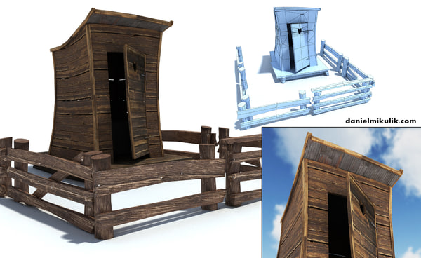 3d old wild west toilet