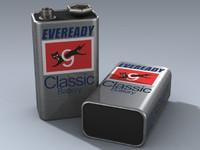 3d model 9 volt battery