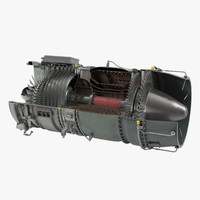 Turbojet Engine Sectioned 3D Model