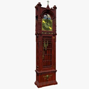 antique grandfather clock obj