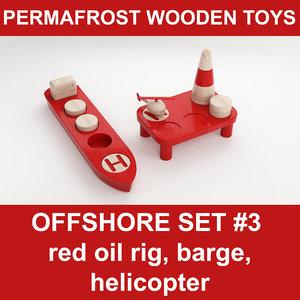 3d wooden toy offshore set model