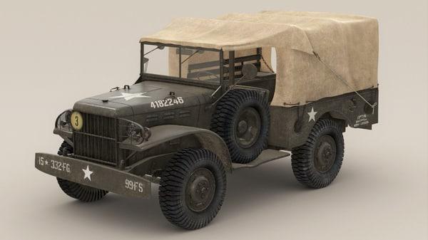 wc-51 dodge truck wwii 3d model