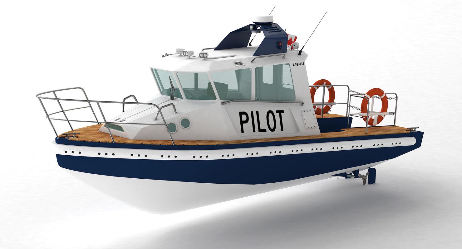 pilot boat ship 3d max