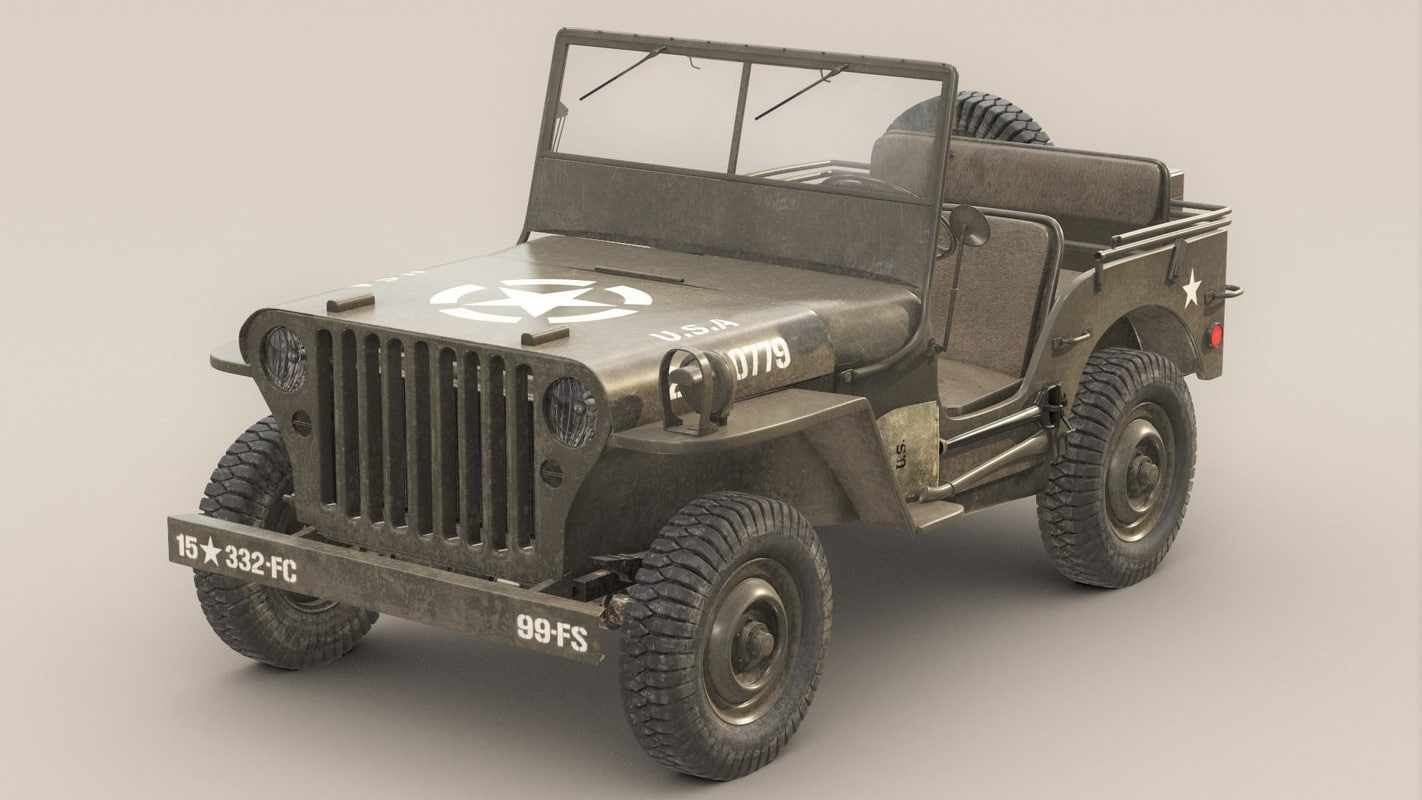 3d willys army jeep