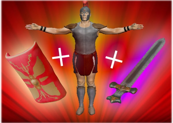 3d model gladiator pack roman shield