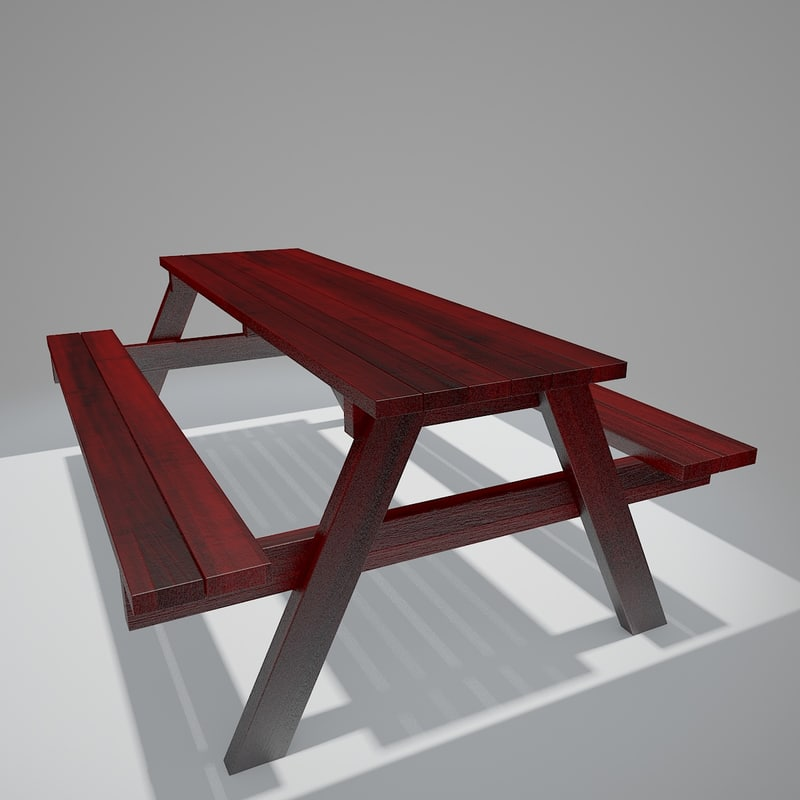 3d v-ray bench table double model
