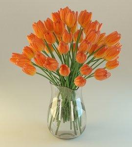 3d blender vase flower model