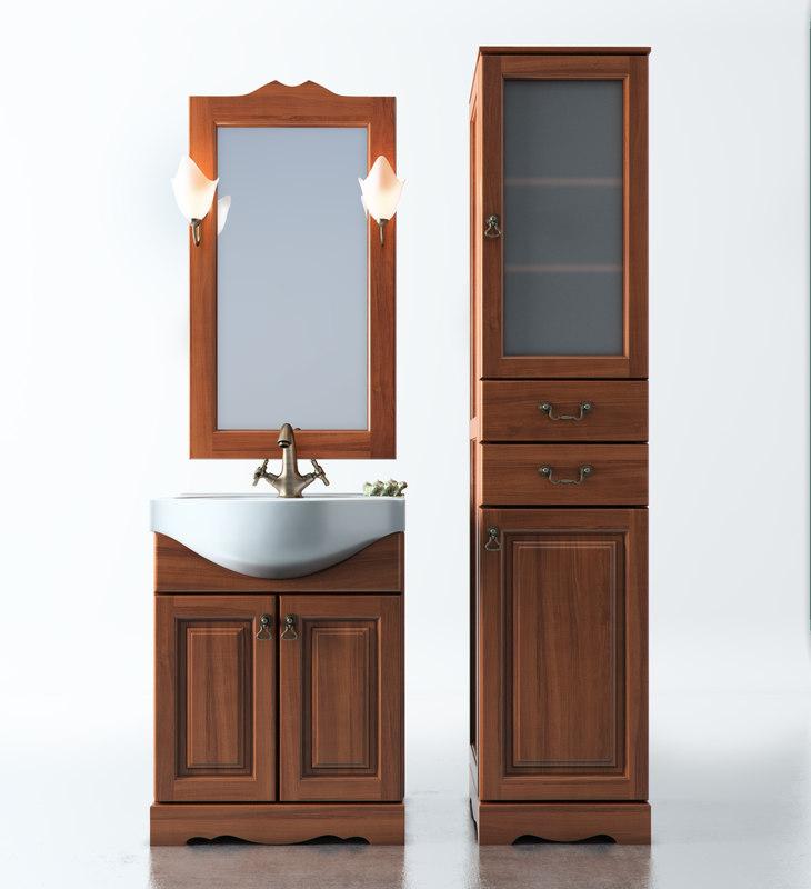 3d model set furniture bathroom