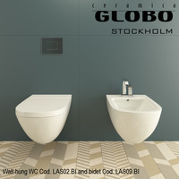 Globo Stockholm Wall-hung WC Cod. LAS02.BI and bidet Cod. LAS09.BI